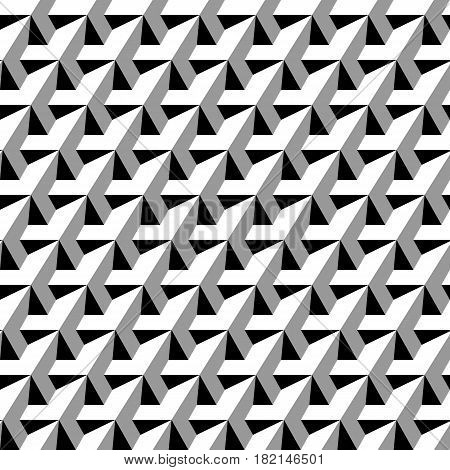 Repeating beveled monochrome prisms with volumea architecture effect. Vector seamless pattern.