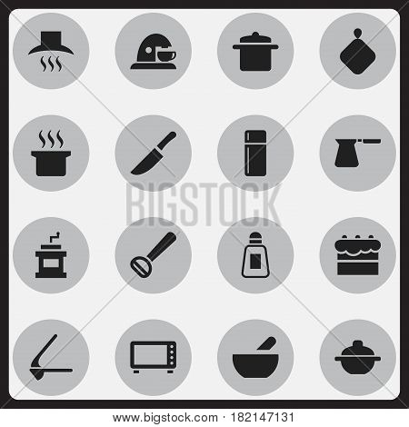 Set Of 16 Editable Cooking Icons. Includes Symbols Such As Cookware, Kitchen Hood, Coffee Pot And More. Can Be Used For Web, Mobile, UI And Infographic Design.