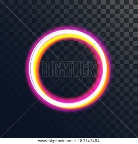 Light effect vector magic gold circle. Glowing light fire ring trace. Shining sunburst light effect on transparent background. Illustration for effect decoration with ray sparkles.