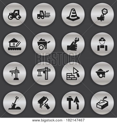 Set Of 16 Editable Construction Icons. Includes Symbols Such As Endurance , Handcart , Home Scheduling. Can Be Used For Web, Mobile, UI And Infographic Design.