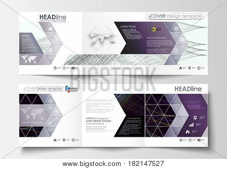 Set of business templates for tri fold square brochures. Leaflet cover, flat layout, easy editable vector. Abstract waves, lines, curves. Dark color background. Motion design