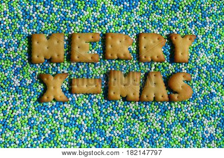 Merry X-mas. The Word From The Edible Letters Lies On The Glazed Powder