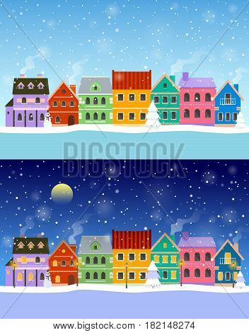 Flat winter cityscapes: day and night. Urban landscapes set. EPS10 vector illustration.