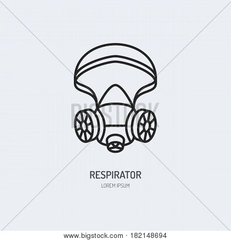 Gas mask, respirator flat line icon. Vector logo for personal protective equipment store. Health protection thin linear sign.
