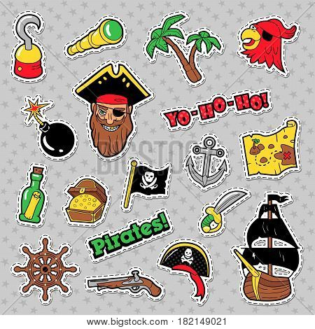 Pirates Badges, Patches and Stickers with Ship, Crossbones, Skeleton. Boys Birthday Party Decoration. Vector illustration