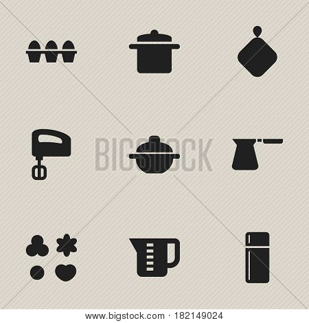 Set Of 9 Editable Cook Icons. Includes Symbols Such As Pot-Holder, Saucepan, Agitator And More. Can Be Used For Web, Mobile, UI And Infographic Design.