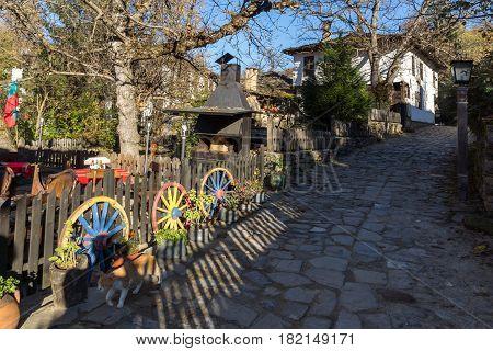 BOZHENTSI, BULGARIA - OCTOBER 29 2016:  Autumn view of village of Bozhentsi, Gabrovo region, Bulgaria