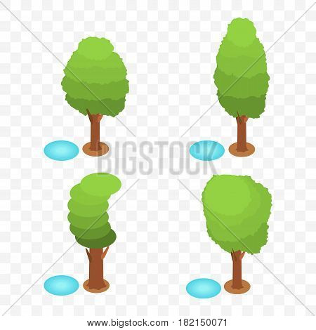 Cartoon isometric trees set, vector illustration. Green cute trees in different shapes and forms with little pond.