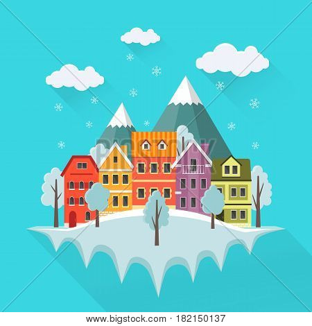 Flat winter cityscape urban landscape with falling snow city with small cute houses and mountains. EPS10 vector illustration.