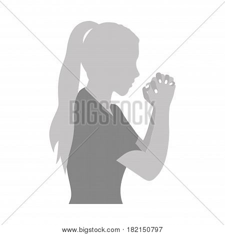 grayscale silhouette of half body woman praying vector illustration