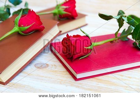 Rose and Book traditional gift for Sant Jordi the Saint Georges Day. It is Catalunya's version of Valentine's day celebrated on 23rd of April. Also this day is World Book Day.