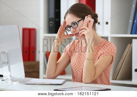 Business Woman Receives Bad News On The Phone