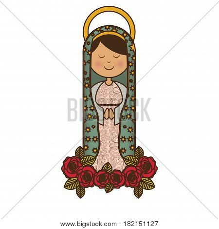white background of virgin of guadalupe and ornament of roses vector illustration