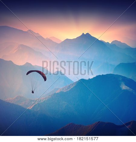 Silhouette Of Paraglide