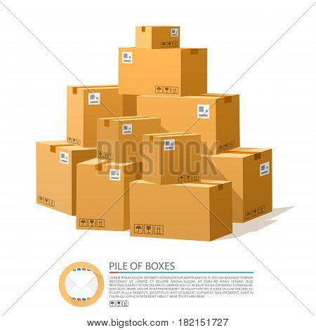 A pile of boxes. Cardboard brown vector . Vector illustration
