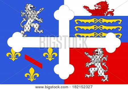 Flag of Ain is a department in the Auvergne-Rhone-Alpes region of France
