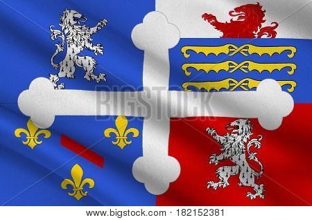 Flag of Ain is a department in the Auvergne-Rhone-Alpes region of France. 3d illustration