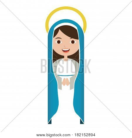 white background of beautiful virgin with blue mantle and aura vector illustration