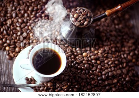 Coffee. Turkish coffee. Armenian Turkish coffee. Cezve and cup of coffee. Traditional serving coffee.