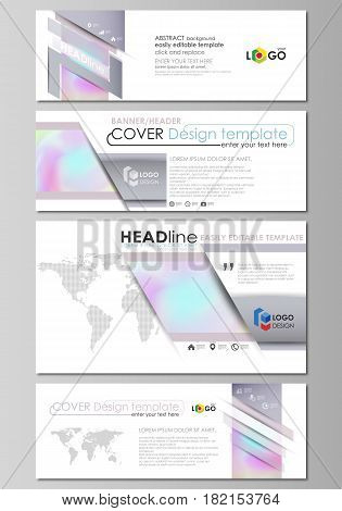 Social media and email headers set, modern banners. Business templates. Easy editable abstract design template, vector layouts in popular sizes. Hologram, background in pastel colors with holographic effect. Blurred colorful pattern, futuristic surreal te