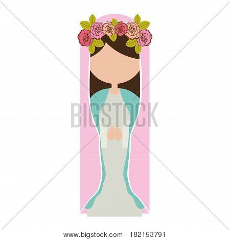 white background of faceless virgin with crown of roses and pink mantle vector illustration