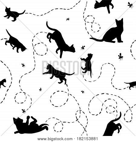 Seamless black and white vector pattern - kittens and flies