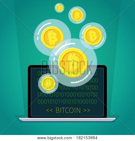 Concept of digital currency. Golden Bitcoin in a bubble. Flat design, vector illustration.