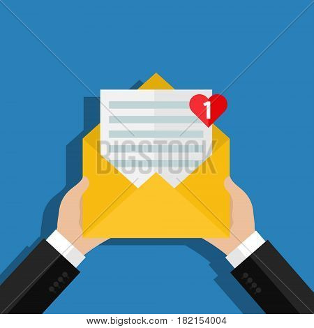 Concept of incoming email love message. Letter with counter notification, postman hand, mail delivery service. Flat design, vector illustration.