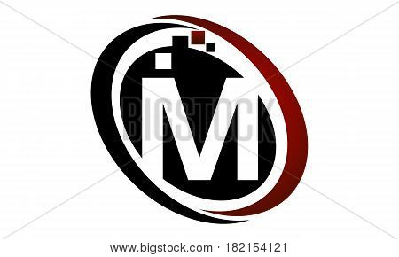 This vector describe about Technology Logo Motion Synergy Initial M poster
