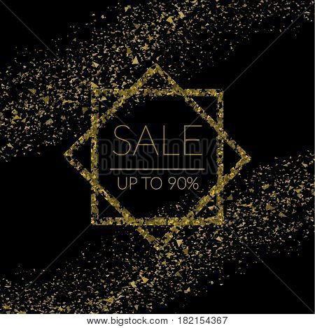 Golden Confetti  Sale Banner On Black  Vector Eps 10
