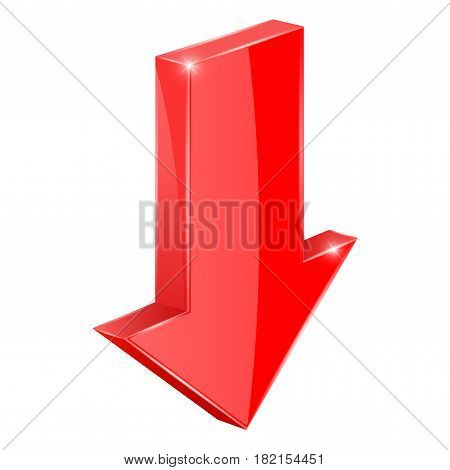 Red arrow. Down web 3d icon. Vector illustration isolated on white background