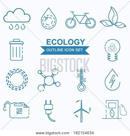 Ecology outline icon set. Ecology organic product sign. Vector design