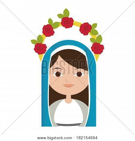 white background of half body beautiful virgin with crown of roses and blue mantle vector illustration