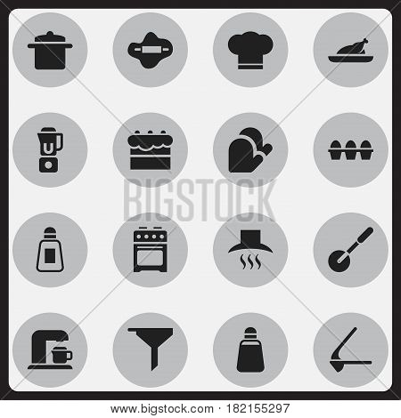 Set Of 16 Editable Cook Icons. Includes Symbols Such As Knife Roller, Crusher, Kitchen Hood And More. Can Be Used For Web, Mobile, UI And Infographic Design.
