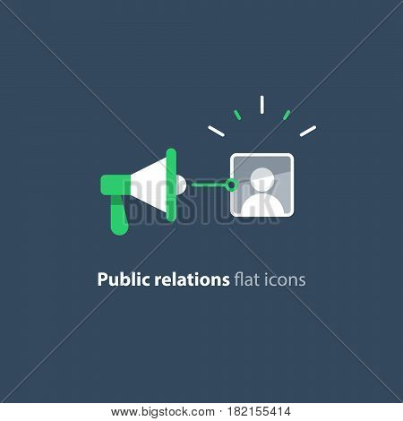 Social media marketing and promotion concept, megaphone flat icon, public relations vector illustration