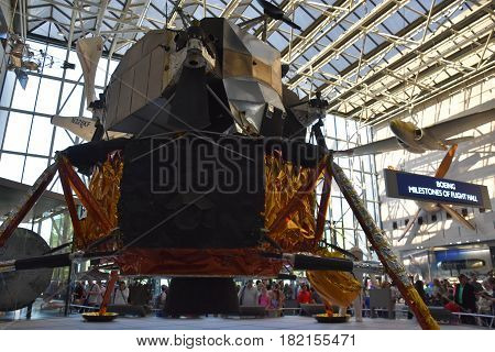WASHINGTON, DC - APR 14: Smithsonian National Air and Space Museum in Washington, DC, as seen on April 14, 2017. It holds the largest collection of historic aircraft and spacecraft in the world.