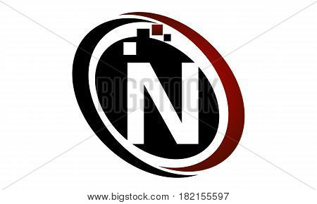 This vector describe about Technology Logo Motion Synergy Initial N