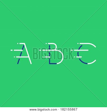 Letters A, B, C in motion, fast services concept logo elements, delivery and transport icons, mono line vector