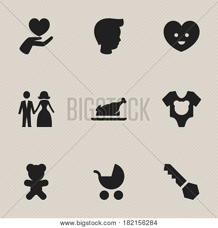Set Of 9 Editable Kin Icons. Includes Symbols Such As Perambulator, Lock, Heart And More. Can Be Used For Web, Mobile, UI And Infographic Design.