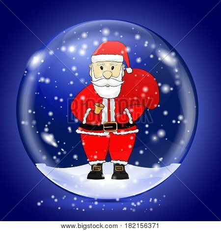 Santa Claus in a snow magic ball. Christmas symbol. Vector illustration