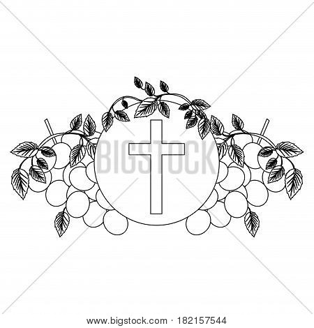 black silhouette with communion religious icons of grapes and christian cross vector illustration