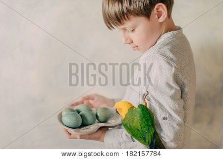 Cute little boy with Easter eggs and a bright parrot on his hand