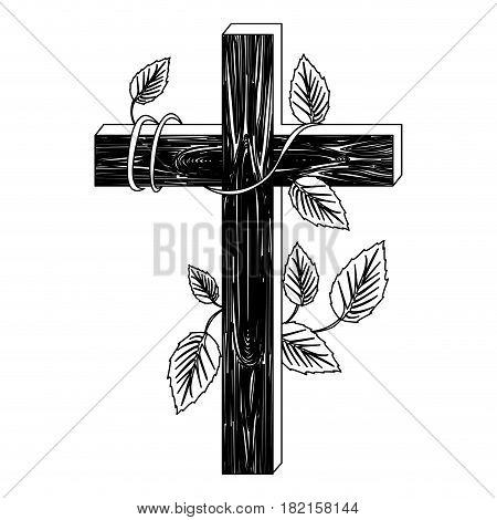 black silhouette of wooden cross and creeper plant vector illustration