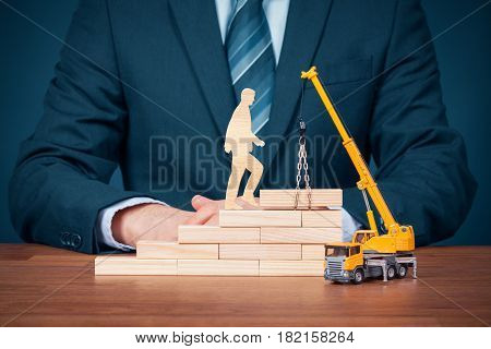 Personal development and career build progress and potential concepts. Coach (human resources officer, manager, mentor) motivate employee to build career.