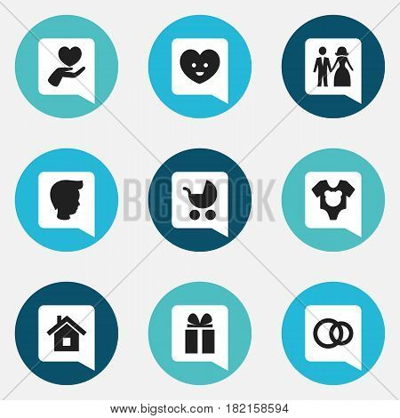 Set Of 9 Editable Kin Icons. Includes Symbols Such As Married, Heart, Boy And More. Can Be Used For Web, Mobile, UI And Infographic Design.