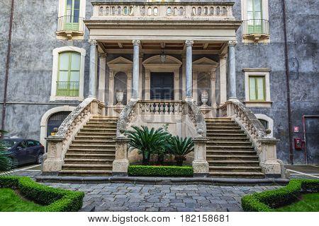 University of Catania building (Palace of San Giuliano) in Catania Sicily Island of Italy