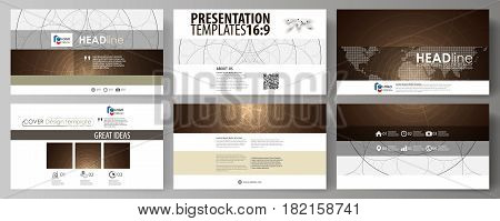Business templates in HD format for presentation slides. Easy editable abstract vector layouts in flat design. Alchemical theme. Fractal art background. Sacred geometry. Mysterious relaxation pattern