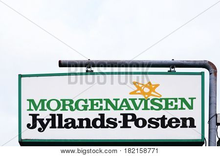 Silkeborg, Denmark - April 9, 2016: Jyllands Posten sign on a panel. Jyllands Posten commonly shortened to JP, is a Danish daily broadsheet newspaper. It is based in Viby, Denmark