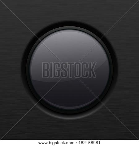Black round plastic button. Vector 3d illustration