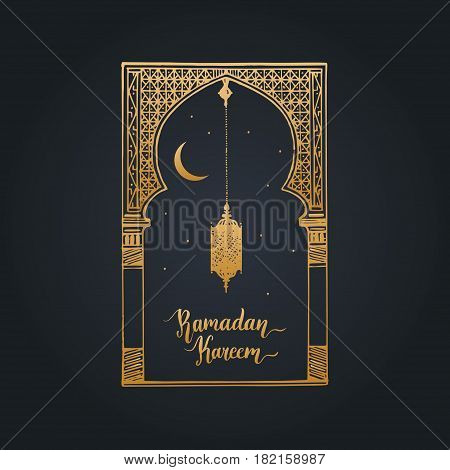 Ramadan Kareem greeting card with calligraphy. Vector illustration of islamic holiday symbols. Hand sketched oriental arch, lantern, new moon and stars. Arabic pattern design background.